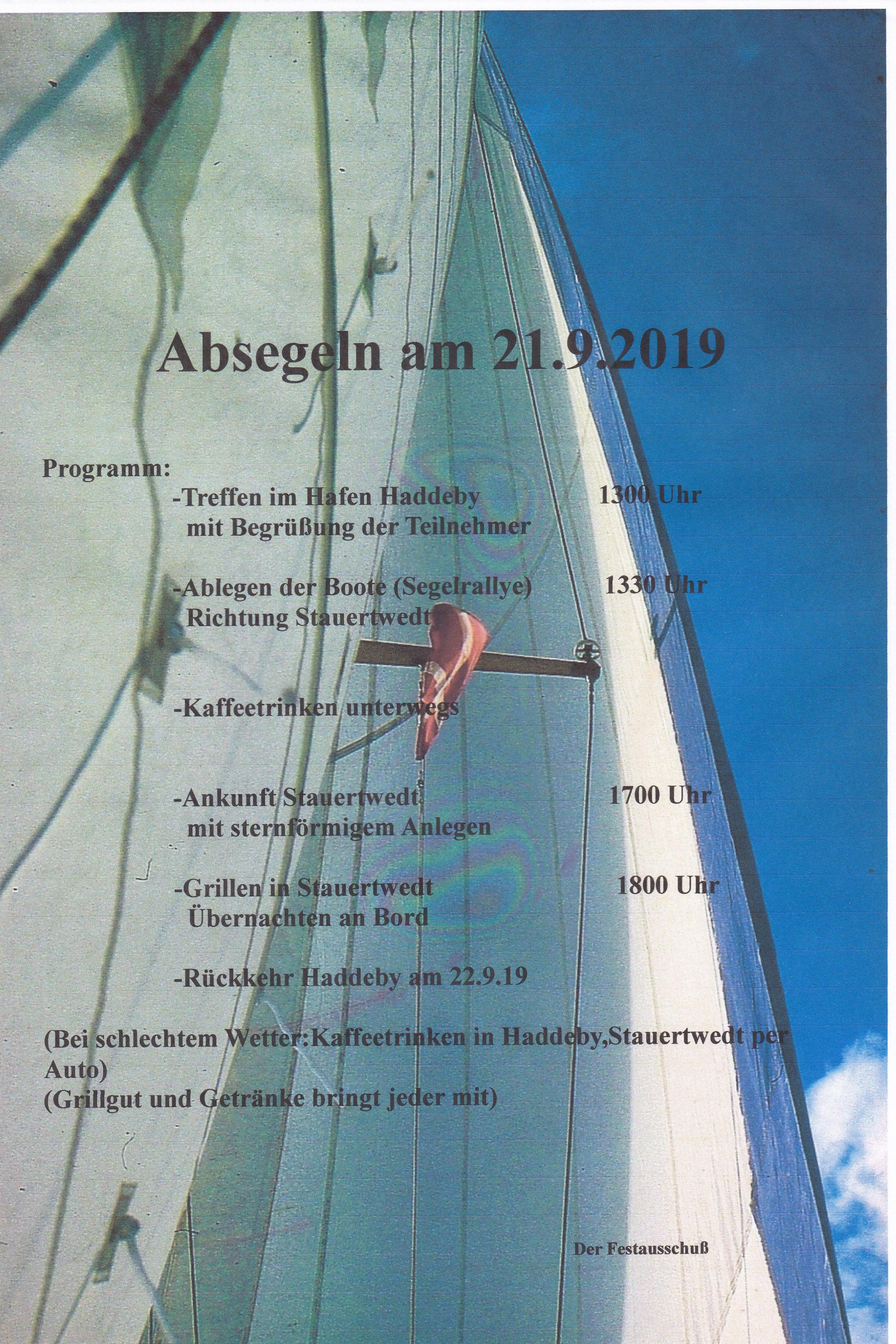 Einladung zum Absegeln 2019